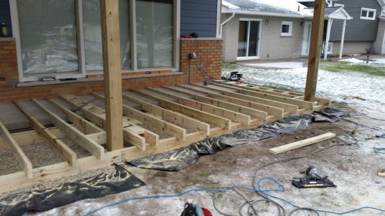 Trex front porch during construction