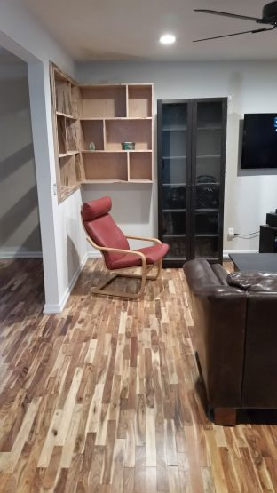 Flooring with custom Bookcase